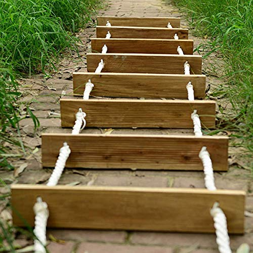 DROMEZ Escalera de Cuerda de Escape de Incendios, escaleras de Rescate Plegables para Exteriores, Escalera Suave portátil versátil para Trabajar en Altura, Escalera de Madera de Seguridad, 5 m