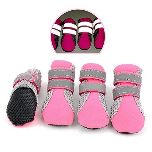 Zunea Paw Protector Stivali estivi antiscivolo per cani di piccola taglia scarpine riflettenti traspirante morbida maglia cucciolo scarpe resistenti al calore per caldo marciapiede rosa mini M