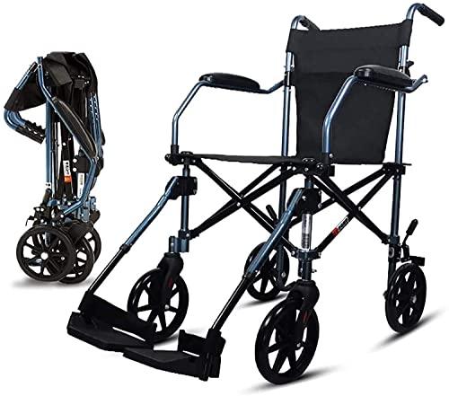 Sillas de ruedas para adultos, silla plegable, ligera, ultraligera, portátil, para personas mayores, viajes, ruedas pequeñas, bolsa de almacenamiento, para viajes cómodos (color B: B)