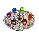 Juego de té moruno, árabe, Marruecos. 6 vasos más tetera de alpaca para dos personas y una bandeja de alpaca de 33 cm aproximadamente