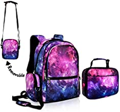 Galaxy Backpack for Girls for School Purple Space Bookbag with Galaxy Lunch Boxes