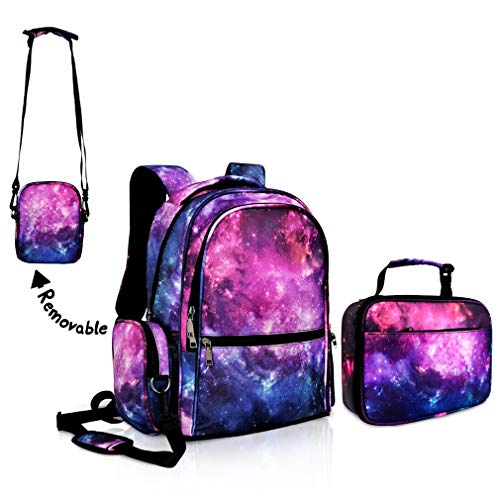Galaxy Backpack for Girls for School Purple Bookbag with Galaxy Lunch Boxes