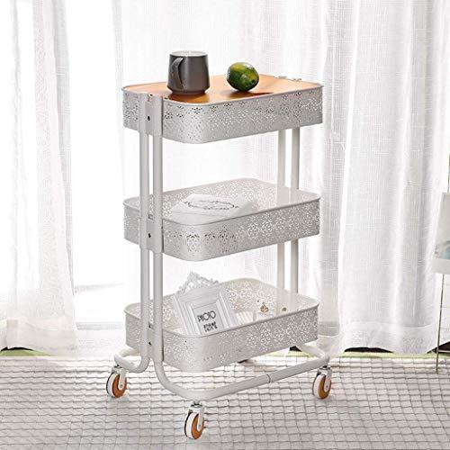 Opbergbox voor gereedschapswagen van metaal, 3 lagen, met rolwagen, voor keuken, badkamer, garage, kantoor, kunsthandwerk (kleur: roze)