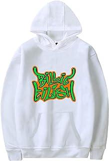 PANOZON Sudadera Billie Eilish Mujer con Capucha Impresa de Logo Hoodie Pull-Over Negra Casual para Chicas Jóvenes Fanes d...