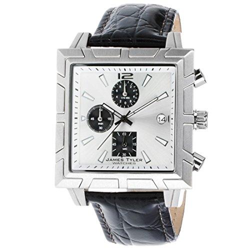James Tyler herenhorloge, kwarts chronograaf, vierkant geborsteld roestvrij staal JT710-3