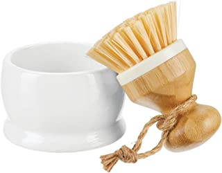 mDesign Bamboo Round Mini Palm Scrub Brush, Stiff Bristles with Holders - Wash Dishes, Pots, Pans, Vegetables - for Kitchen Sink, Bathroom, Household Cleaning - 2 Pack - White/Natural Wood