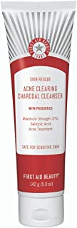 First Aid Beauty Skin Rescue Acne Clearing Charcoal Cleanser with Probiotics: Salicylic Acid Face Cleanser with Yogurt Ext...