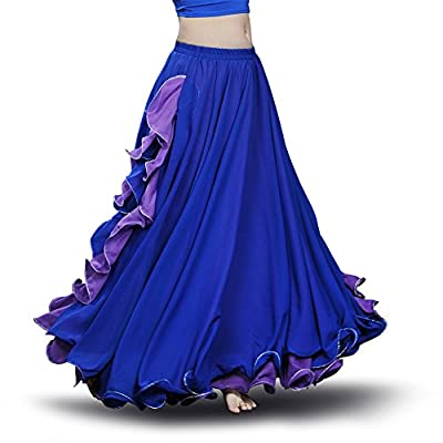 ROYAL SMEELA Chiffon Belly Dance Skirt for Women Belly Dancing Costume Outfit Tribal Maxi Full Dance Skirts Dress Voile