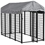 FDW Large Dog Kennel Pet Crate Heavy Duty Cage Puppy Playpen Wire Animal Metal Camping Indoor Outdoor Cage for Large Dogs with Roof