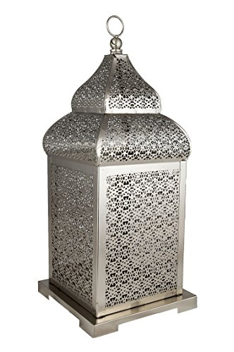 Orientalische Laterne aus Metall Kalila 41cm   orientalisches Windlicht silber   Marokkanische Metalllaterne für draußen als Gartenlaterne, oder Innen als Tischlaterne   Marokkanisches Gartenwindlicht