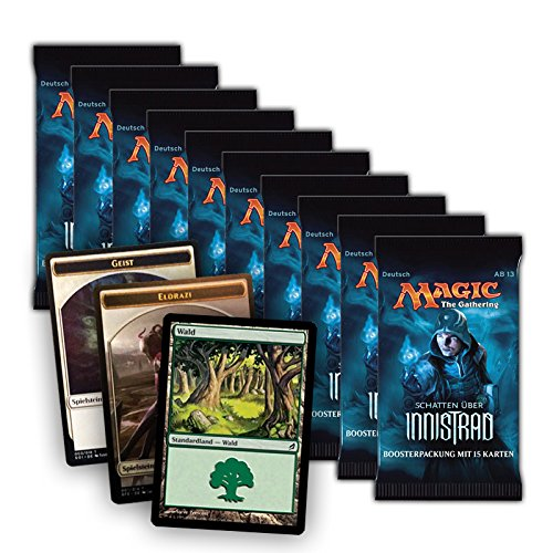 Magic the Gathering MTG Schatten über Innistrad - 10x Booster Pack + FOIL Standardland + 2 Token - Deutsche Ausgabe