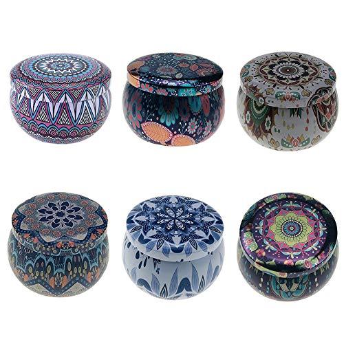 Candle Blechdosenbehälter, wiederverwendbare runde künstlerische Aufbewahrungsbox für das DIY-Kerzenherstellungskit, Metalldosen mit Deckel und exquisite Muster für Kerzen, Kunsthandwerk