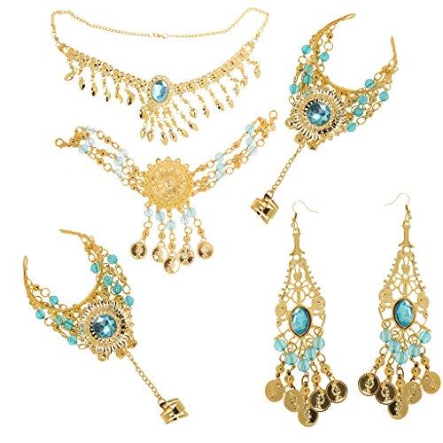 Generic Retro Schmuck Set - Anhänger Halskette Ohrringe Stirnband Ring Set - Bauchtanz - Schmucksets für Damen - Himmelblau