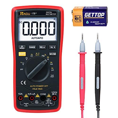 RAGU 17B Multimeter Digitales Mehrfachmessgerät 6000 Zähler Multitestgerät Spannungsprüfer Automatisch Umschaltendes Elektronisches Messgerät mit LCD-Anzeige und Hintergrundlicht