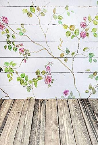 WaW Fotografie Hintergrund Rustikal Weiß Holzwand mit Blume Fotohintergründe Baby Mädchen Foto Stoff Kulisse für Kinder Fotostudio Requisiten 1.5x2.2m