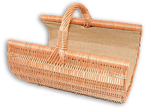 Wilpo Panier à bûches Panier en bois avec jute Saule 49x36x37 cm