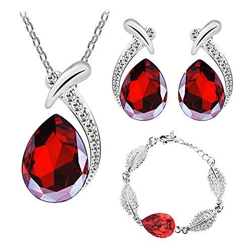 Beuya Mujer Conjunto de Joyas de Cristal Pendientes, Pulsera y Collar Colgante, Señoras Boda Fiesta decoración cumpleaños Regalo (Rojo)