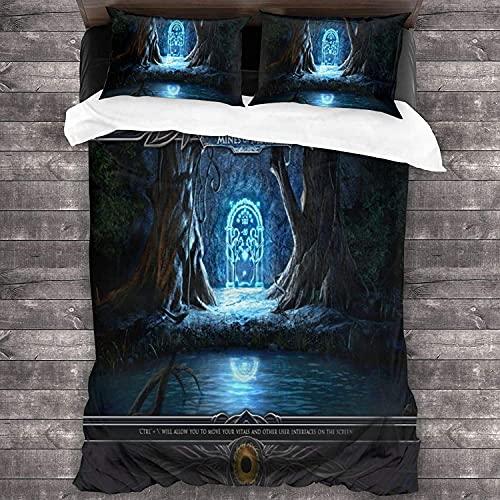 WMSYJR Juego de ropa de cama de 3 piezas, diseño de El Señor de los anillos, funda nórdica + 2 fundas de almohada, microfibra, impresión digital 3D (R3,220 x 240 cm + 50 x 75 cm x 2)