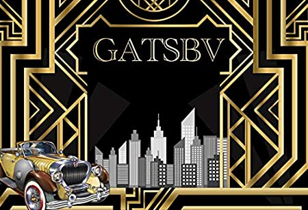 DaShan 7x5ft Polyester Great Gatsby Backdrop for Newborn Baby Shower Decorations 1920s Retro Roaring Background for Gatsby Themed Birthday Wedding Party Decor Adult Children Portrait Photo Booth Props