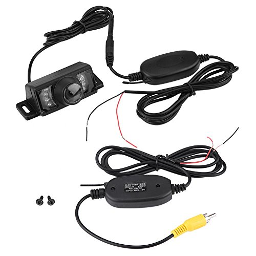 Keenso Achteruitrijcamera, draadloze zender, 7 stuks, LED, draadloze achteruitrijcamera, nachtzicht, infrarood, draadloos, RCA-videozender en ontvanger