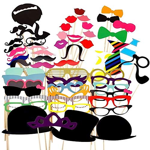 Party Props for Photo Booth Birthday Wedding Kids Adult Prom 58 Pcs  DIY Funny Skywoo Costumes with Mustache on a stick  Hats  Glasses  Mouth  Bowler  Bowties