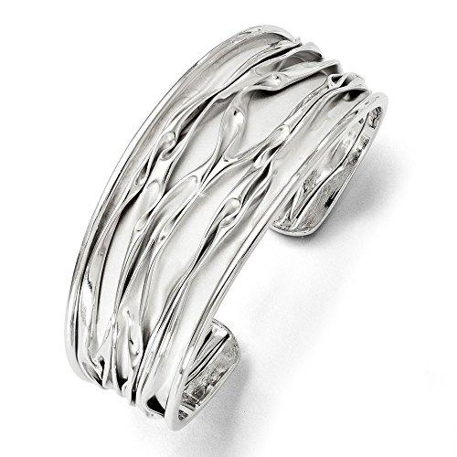 Diamond2deal Argento sterling 925rodiato medio Tappered Scrunch bangle