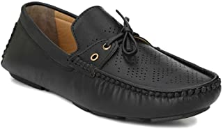LEVANSE Leather Flexible Knot Style Loafer Shoes for Boys/Men