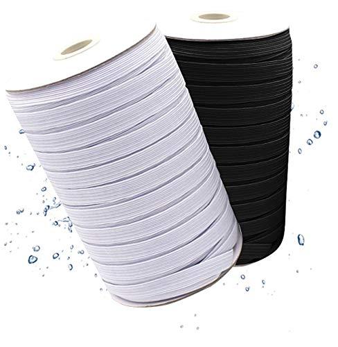 Gummiband 5mm zum Nähen Kochfest & elastisch optimal für Mundschutz 20 Meter Gummilitze runde Meterware schwarz oder weiß, Gummikordel Hosengummi 0,5 cm breit (Weiß)
