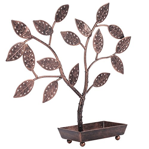 MyGift Jewelry Tree, Earring Necklace Hanger Holder with Ring Dish Tray, Bronze