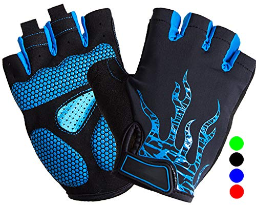 Hi Clasmix Cycling Gloves Half Finger Bike Glove MTB DH Road Bicycle Gloves Gel Pad Shock Absorbing Anti-Slip Breathable Motorcycle Mountain Biking Gloves for Men Women (Blue, Medium)