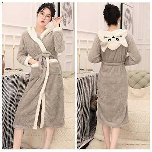 GSHFK Womens Hooded Fleece Robes Plüsch Bequeme weiche warme süße Katze Bademäntel Cartoon Schafe Bademantel weichen Kimono Spa Bademantel für Frauen