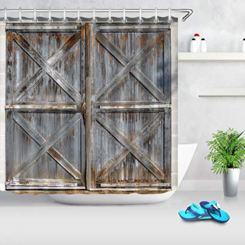 Rustic Barn Door Farmhouse Shower Curtain for Bathroom,Western Country Wood Door Shower Curtain 72 x 72 Inch Waterproof Polyester Fabric with 12 Hooks