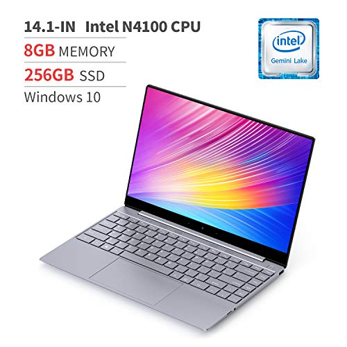 BMAX X14 14.1inch Laptop, Full HD, 2.6GHz Intel Gemini Lake N4120 CPU, 2133MHz 8GB LPDDR4 RAM, 256GB M.2 SSD, All-Metal Body, Backlit Keyboard,Windows 10 Home