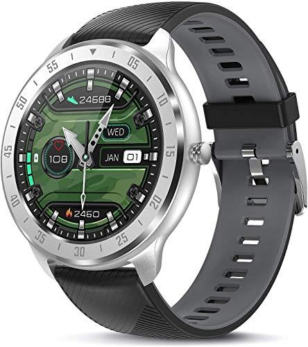 Smartwatch, Reloj Inteligente Pulsómetros para Hombre, Pulsera de Actividad Inteligente Impermeable IP68 con Monitor de Sueño, 1.3inch Pantalla Táctil Completa Reloj Deportivo para Android iOS (C)