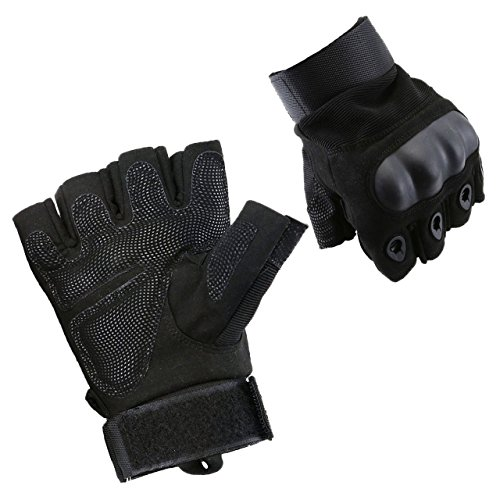 ACBungji Halber Finger Handschuhe Motorradhandschuhe für MTB Mountainbike Motorrad Motocross Quad Paintball Airsoft Security Tactical Militär KTM Fahrrad Rad Herren Damen Touchscreen (Schwarz, L)