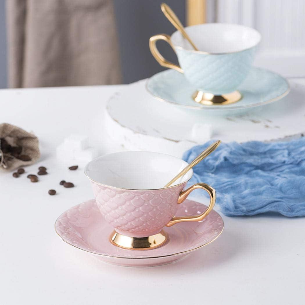 rosa caliente Ceramics Creative termostabilidad para pareja juego de t/é tres piezas tazas cuchara pescado escala patr/ón PC