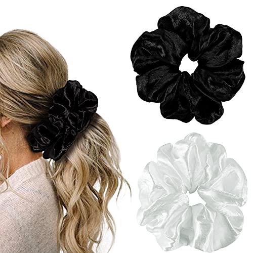 YOHAMA 6.3 Inch Black and White Scrunchies Jumbo Satin Hair Ties Women...