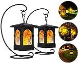 Fortand Solarlampe Gartenfackeln LED Fackel Solarleuchte Solar Gartenleuchte Hängende Solarleuchten IP65 Wasserdicht 3Mode Mit Realistischen Flammen Auto EIN/Aus USB Wiederaufladbar (2 Stück)