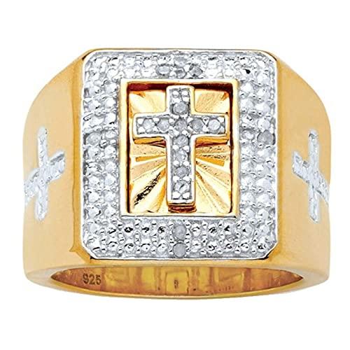 Diamante de imitación Jesús Cruz Anillos Fiesta de la motocicleta Anillo de oro Hip Hop para mujeres Hombres7Gold