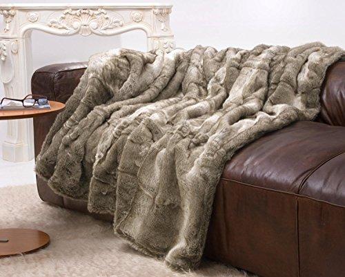 Très grande couverture en fourrure, fausse fourrure d'ours, mélange gris/beige, 240 x 260 cm