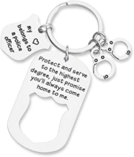 Police Officer Gifts for Policeman Dad Keychain Cop Gift for Husband from Wife Sheriff Gift Police Academy Graduation Gift for Son Daughter from Dad Mom Police Badge Keychain for Him Her Women Men