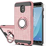 Galaxy J7 2018/J7 Aero/J7 Top/J7 Refine/J7 Eon/J7 Star/J7 Crown/J7 Aura/J6 2018 Case with HD Phone Screen Protector,Ymhxcy 360 Stand & Dual Layer Resistant Back Cover for Galaxy J737-ZH Rose Gold