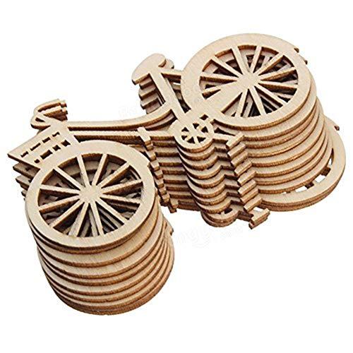 10 parches de madera para bicicleta con diseño de amor, para decoración de árbol de Navidad, para decoración del hogar, manualidades, muy popular y útil