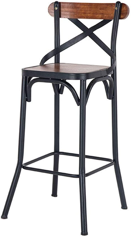 LLYU Bar Stool Bar Stools Industrial Style Iron backrest Wooden bar Stool Creative Dining Chair high Stool
