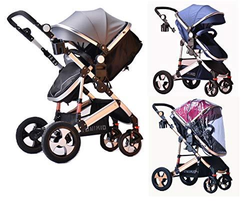 TomiKid 2 in 1 Combi Travel System Pram Stroller from New Born Kids Stroller Buggy Baby Child Pushchair (Blue Single Pram)