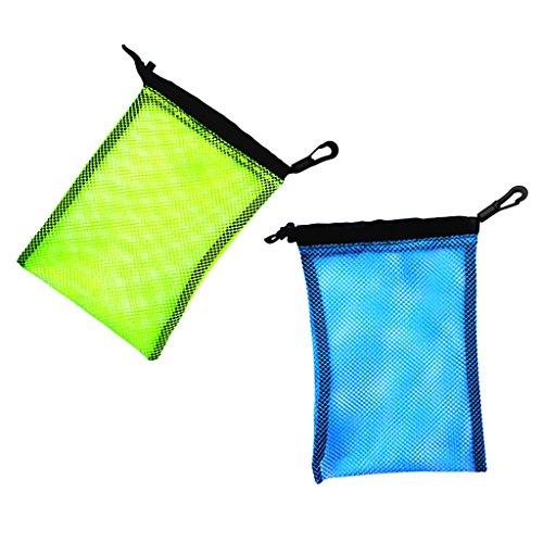 MagiDeal 2 Stück Mesh Bag, Netztasche mit Karabiner für Tauchen Schnorcheln Schwimmen Ausrüstung Aufbewahrung wie Flossen Schnorchel Tauchbrille Tauchermaske Tragetasche, Outdoor Beutel