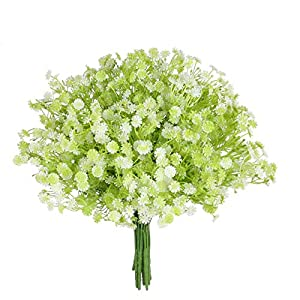 Grand Verde Gypsophila – Baby's Breath Artificial Faux Flowers Set of 10, Real Touch Bouquets for Gift, DIY, Garden, Patio, Balcony, Wedding, Party, Home Decor