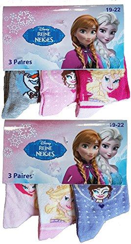 Chaussettes bébé fille La reine des neiges fantaisie. Modèle photo assorti selon arrivage (19/22, Lot de 6 paires)