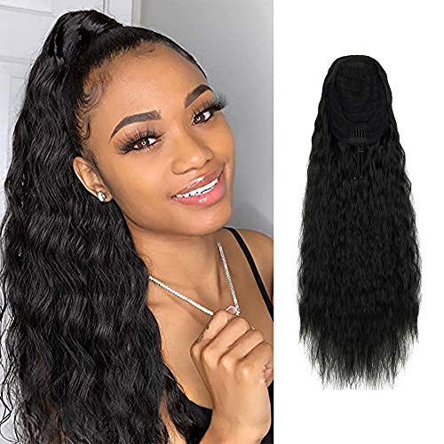 FUT_Forever Long Curly Drawstring Ponytail Extension 22 inch Synthetic Corn Wave Ponytail Drawstring Hairpieces Clip in Wavy Natural Hair Extensions for Women