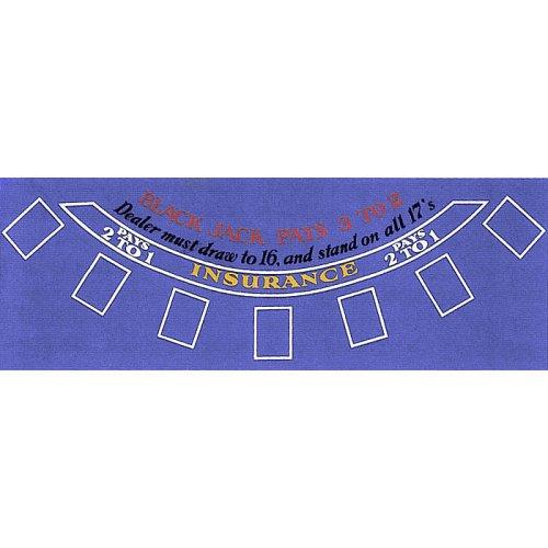 Trademark Poker Blue Felt Blackjack Layout 36-Inch x 72-Inch